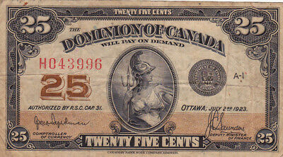 25 Cents Fine Banknote From Dominion Of Canada 1923!pick-11