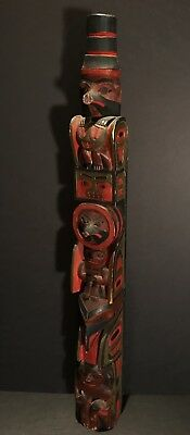 Important c1900 NW COAST CARVED WRANGELL CHIEF SHAKE'S TOTEM POLE,Provenance,Exc
