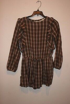 Zara Girls Casual Collection Plaids  Long Sleeve Viscose/wool  Romper Size 11-12