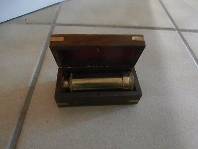 "Vintage 6"" Brass Telescope ~ Nautical Hand Held ~with Teak Box with Brass Inlay"
