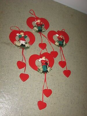 FOUR Wooden & Cloth 1980s Christmas Ornaments Wooden Hearts & Winter Figures