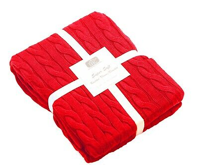 Super Soft 100% Cotton Cable Knit Sofa Bed Throw Snuggle Blanket, 125 x 150cm