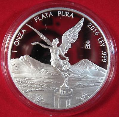 """2016 Silver .999 1 OZ. MEXICO LIBERTAD """"BARE-BREASTED ANGEL"""" Proof 13,250 Minted"""