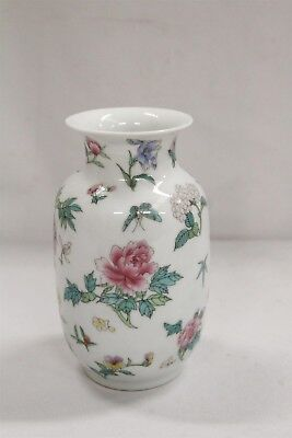 Chinese Porcelain Flowers Roses Blossoms Dragonfly Butterflies Vase Signed