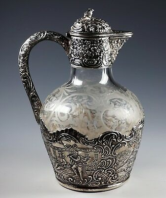 Gorgeous Antique Sterling Silver Repousse w/ Engraved Glass Jug / Pitcher
