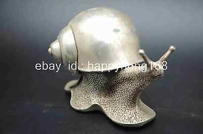 Chinese Fengshui Folk Collectible Animal Silver Carved Snail's Snail Statue