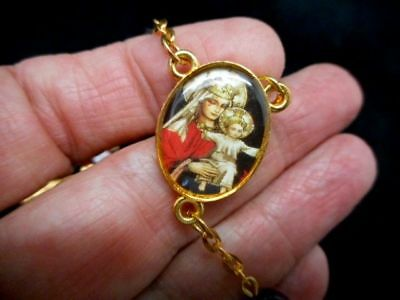 Authentic Vintage Graymoor Rosary with Mary Jesus w/Cross Red Lucite