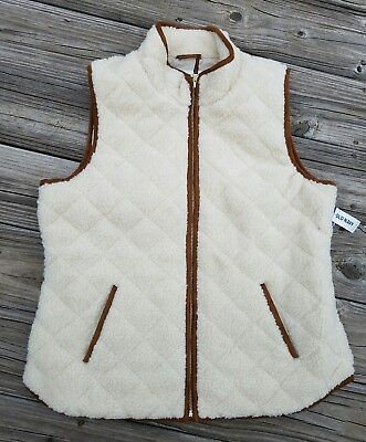 Old Navy Off White Sherpa Quilted Excursion Fur Vest Size XXL 2XL NWT SOLD OUT