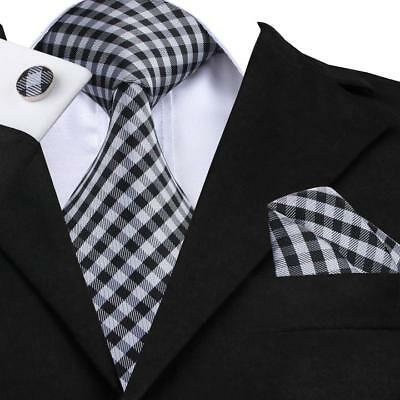 USA Mens Hi Tie Black White Plaids Checks Classic Silk Necktie Set SN-1040