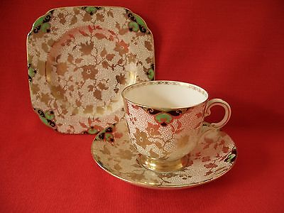 Art Deco Plant Tuscan China Hand Painted~Gold Chintz~1910A Trio Cup Saucer Plate