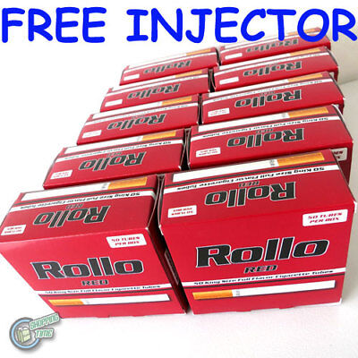 FREE INJECTOR + 500 Red EMPTY ROLLO TUBE Cigarette Tobacco Rolling Filter