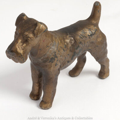 Vintage Cold Painted Spelter WIRE HAIRED TERRIER DOG Bronze Style Antique Figure
