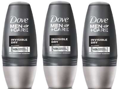 3x Dove Men+ Care INVISIBLE DRY Antiperspirant Roll on 50ml
