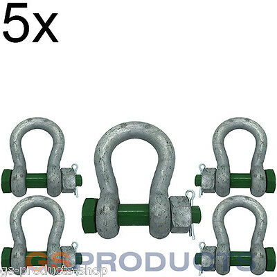 10x 0.5 tonnes Galvanised Steel Green Screw Pin Safety Bow Shackle