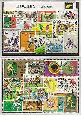 25 Motivbriefmarken Feldhockey Hockey on stamps