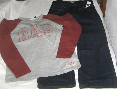 NWT Boys 8 GAP 2 Pc Outfit Jeans and Long Sleeve Logo Top NEW