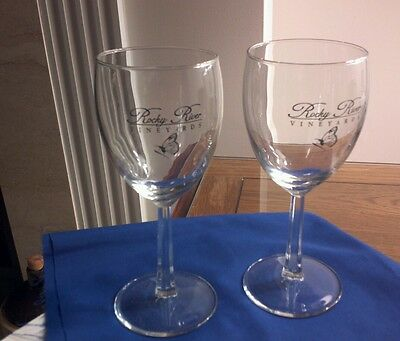 Rocky River Vineyards-Midland, N.c.  --Set Of (2)  Wine Glasses 6. 1/2 Inches