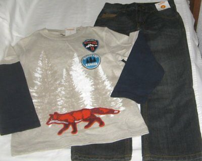 NWT Boys 5 GYMBOREE 2 Pc Outfit Jeans & Long Sleeve Top NEW
