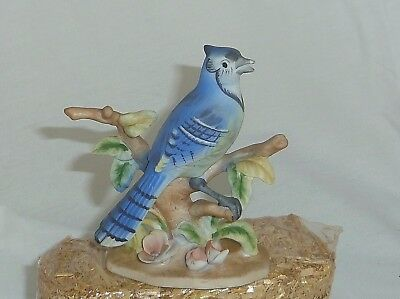Vintage Blue Jay 4.5in Bisque porcelain bird figurine Napco GC Japan Fine China