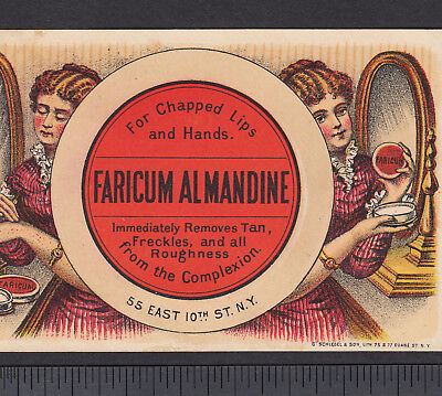 Faricum Skin Cure NY Drug Price List Pot Lid Before After Advertising Trade Card