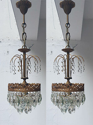 A Pair of Antique French Basket Style Brass & Crystals small Bohemia Chandeliers