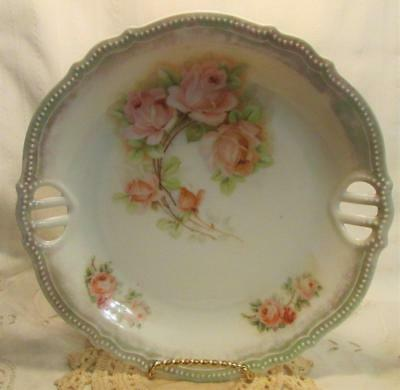 """Antique Early 1900s Germany P K Silesia 9 3/8"""" Two Handled Serving Plate Platter"""