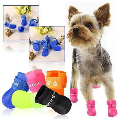 4Pcs Lovely Waterproof Anti-Slip Rain Boots Shoes for Cat Dog Puppy Pet NEW S