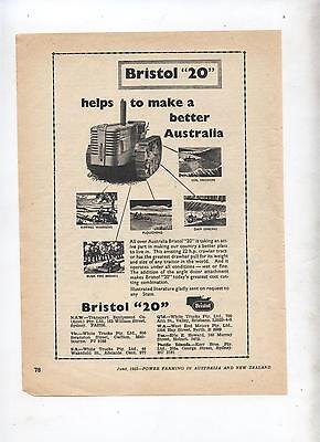 Bristol 20 Crawler Tractor Advertisement removed from 1953 Farming Magazine