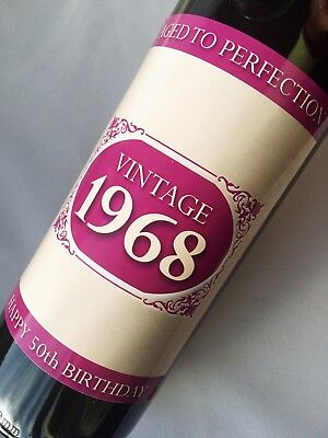 1968 VINTAGE 2018 50th BIRTHDAY GIFTS, BOTTLE LABEL, KEYRING, COASTER, PINK/BLUE