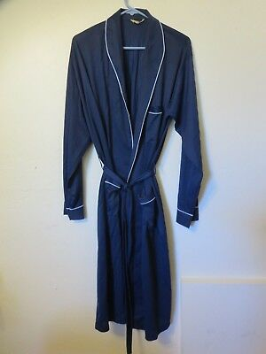 vintage mens Munsingwear nylon robe bathrobe Large navy blue w/ blue trim