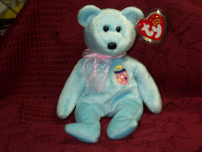 TY beanie baby babies Blue bear Eggs II Easter Egg on Chest 8-15-2001 mint tags