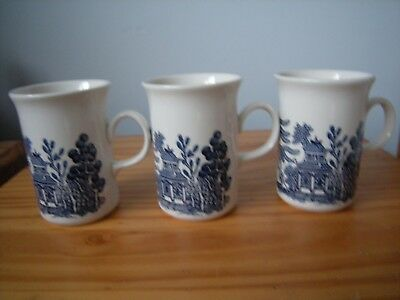 "Three X Vintage Churchill ""blue Willow"" Mugs"