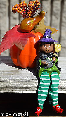 Custom Painted AA Black CUTE HALLOWEEN WITCH CHILD & CAT Sitting Figure Stocking