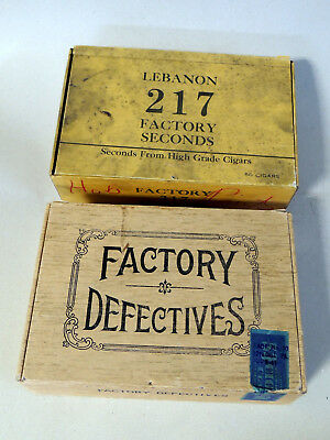 vtg 1930s-40s FACTORY DEFECTIVES & Seconds 2 CIGAR BOX Tobacco HAUER Lebanon PA
