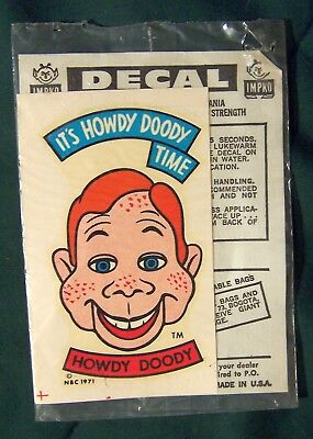Howdy Doody It's Howdy Doody Time vintage decal 1971 Impko USA mint sealed