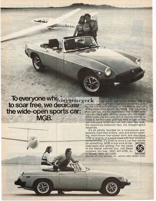 1976 MGB Sports Car Glider Sailplane Vtg Print Ad