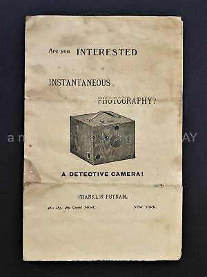 1890 antique Franklin Putnam Detective Hand CAMERA catalog sales pamphlet ad