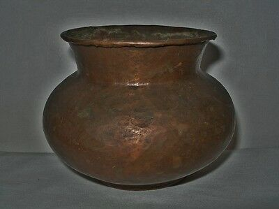 SMALL ARTS CRAFTS Hand Hammered COPPER VASE Rich PATINA Verdigris RUSTIC BEAUTY