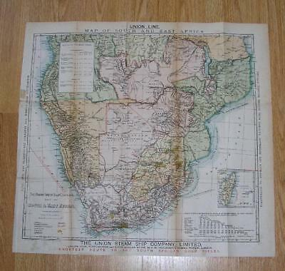 Rare 1893 Map Union Line South Africa Map Gold Fields Castle Royal Mail Steamers