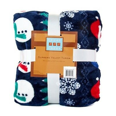New CHRISTMAS SNOWMAN SNOWFLAKE PLUSH THROW Blanket Blue Velvet Super SOFT!