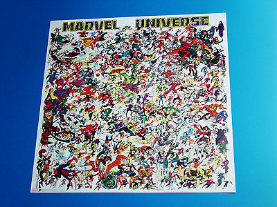 Marvel Universe Poster 100's Of Comic Book Superheroes Super Heroes Villains