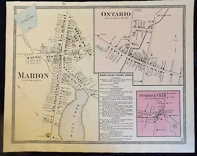 """1874 Wayne County NY """"Villages of Marion Ontario Furnaceville"""" Antique Map Atlas"""