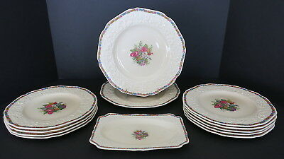 12 Pc Lot Vintage Crown Ducal Gainsborough 2 Dinner Plates 9 Lunch Plates 1 Tray