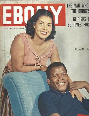 Ebony Magazine May 1959 Sidney Poitier and Wife - Hollywood's first Negro Star