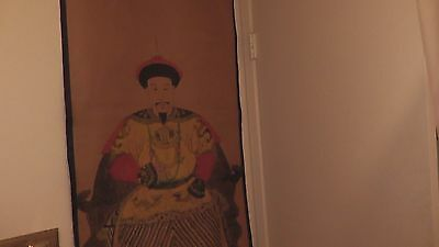 old wall scroll from china chinese imperial emperor asia asian king dragon rare