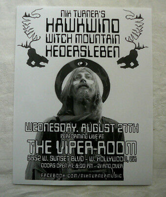 Nik Turner Hawkwind Handbill August 27 2014 Viper Room Hollywood W/ Bonus