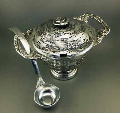 Rare & Large Signed Don Sheil Swirl Punch Bowl With Lid And Ladle 1980