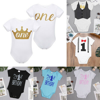 Girls Boys Baby First 1st Birthday Romper One Year Party Clothes Romper Bodysuit
