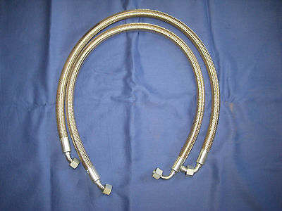 MG PAIR MGB  STAINLESS STEEL OIL COOLER HOSES  1962-67 both same length bcs7
