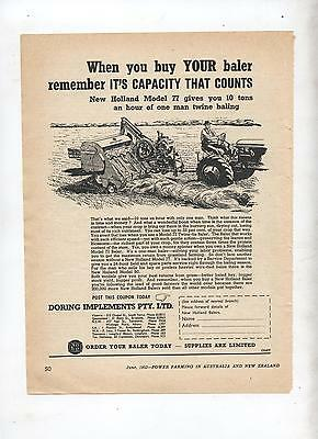 New Holland Model 77 Baler Advertisement removed from 1953 Farming Magazine